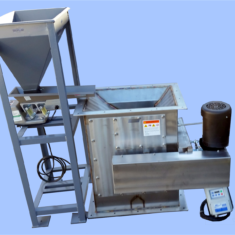 Dry Drum Magnetic Separator, Shown with optional feed hopper and variable rate feeder, 12 x 12